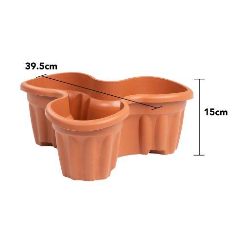 WHAM Plastic Vista Medium Tri Planter 39.5 x 15cm Terracotta - UK Made