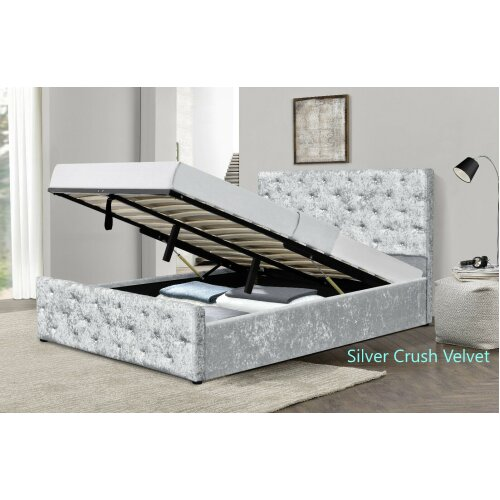 Almeira Crushed Velvet Diamante Chesterfield Ottoman Bedframe with Charlotte Mattress