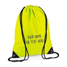 MYOG  Personalised Premium Drawstring Bag PE Gym Kit School P.E Kids Sport Rucksack (22 Colours) (Fluoro Yellow)