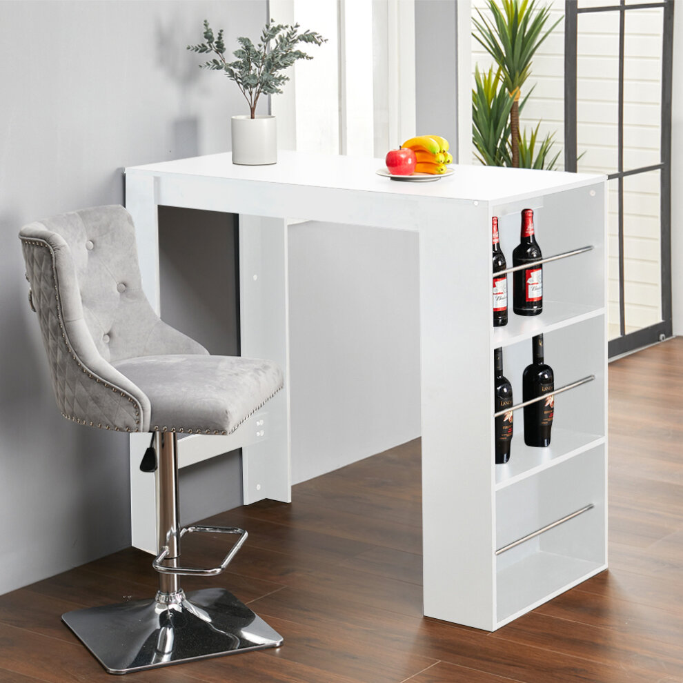 White Modern Breakfast Bar Table Pub Kitchen Dining Room Furniture W Storage Rack On Onbuy