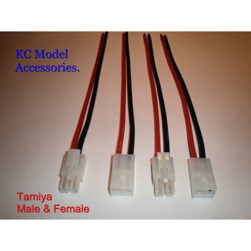 Tamiya Connectors Male & Female 14awg Battery Wire 200mm 2 Pairs UK Stock