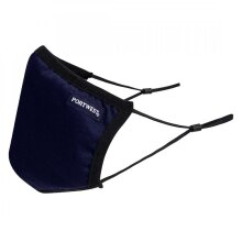Portwest 3-Ply Anti-Microbial Fabric Face Mask Colour: Navy Blue