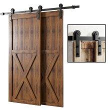 Gifsin I-Shaped 4-9.6FT Bypass Sliding Barn Door Hardware Track Bent Hanger System