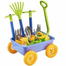 deAO Pull Along Wagon Kids Wheelbarrow and Gardening Tools Playset