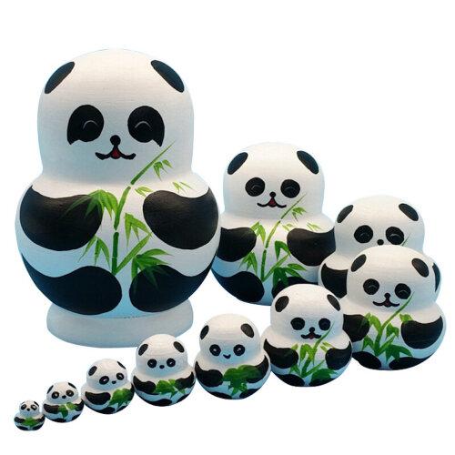 Matryoshka Russian Panda Doll Toys 10-Layer Basswood Hand-Painted