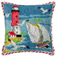 """Latch Hook Complete Cushion Cover Kit""""Lighthouse Scene""""43x43cm"""