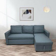 New Scandinavian style Corner Sofa Bed Grey Fabric With Storage