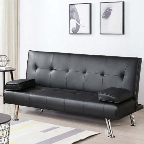 3 Seater SOFA BED Faux Leather Black Sofa Bed recliner Luxury Modest