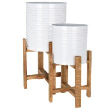 idooka White Plant Pot Pair Metal with Wooden Plant Stand for Large Indoor Plants - Two Floor Standing Planters and Pots with Legs