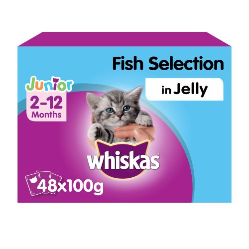 WHISKAS 2-12 Months Kitten Pouches Fish Selection In Jelly 12x100g (Pack of 4)