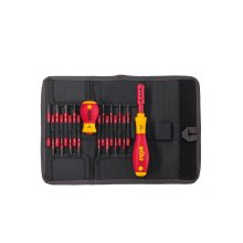 WIHA 2831T18, slimVario Screwdriver and Bits Set, with Stubby in bag, VDE Insulated, (41231), 18 Pieces, SLOTTED - POZIDRIV - PHILIPS - SL/POZI -...