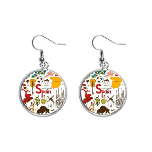 Spain Landscap Animals National Flag Ear Dangle Silver Drop Earring Jewelry Woman
