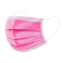 1Above 50pk- Disposable 3-Layer Face Masks, High Filterability, Sutaible For Sensitive Skin (Pink)