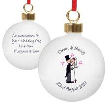 Personalised Christmas Tree Bauble - Cartoon Couple