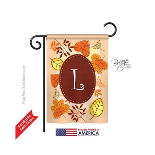 Breeze Decor 80038 Autumn L Monogram 2-Sided Impression Garden Flag - 13 x 18.5 in.