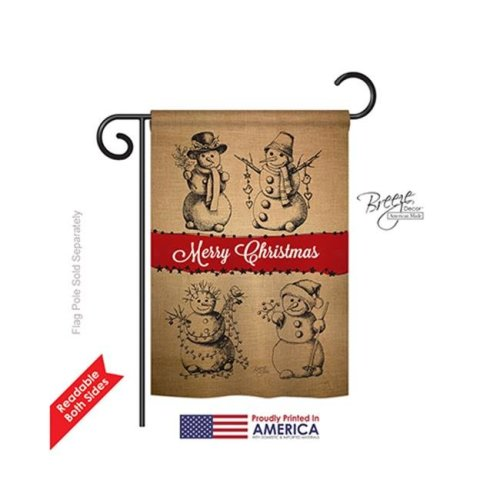 Breeze Decor 64114 Christmas Snowman Fun 2-Sided Impression Garden Flag - 13 x 18.5 in.