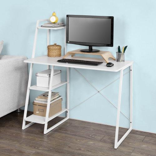 SoBuy® FWT29-W, Home Office Table Desk Computer Desk Workstation 3 Storage Shelves