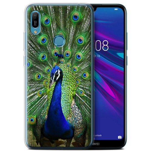 (Peacock) Wildlife Animals Huawei Y6 2019 w/FP Scanner Phone Case Transparent Clear Ultra Soft Flexi Silicone Gel/TPU Bumper Cover