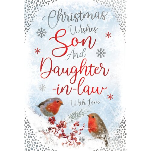 Son & Daughter In Law Robins & Berries Design Christmas Card Lovely Verse