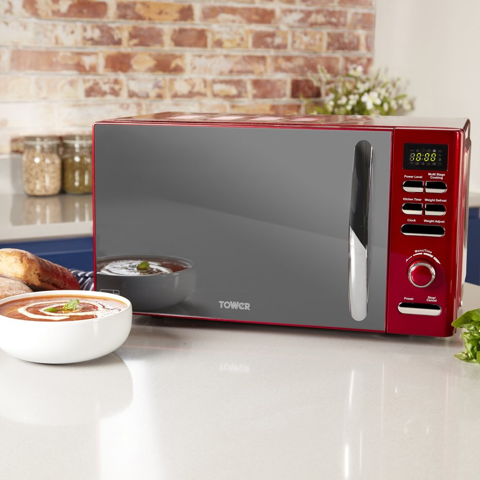 Brand New Tower Inifinity T24019R 800W 20L Digital Solo Microwave in Red
