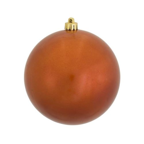 Vickerman N590818DCV 3 in. Burnish Orange Candy Ball Christmas Ornament with Drilled, 12 per Bag - Pack of 12