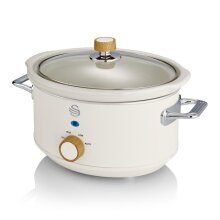 Swan 3.5L Nordic Slow Cooker 200W Removable Inner Pot Low/High Settings Glass Lid - Cotton White