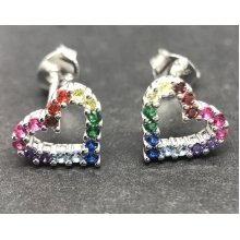 Heart rainbow stud earrings, solid Sterling silver. Multicolour.