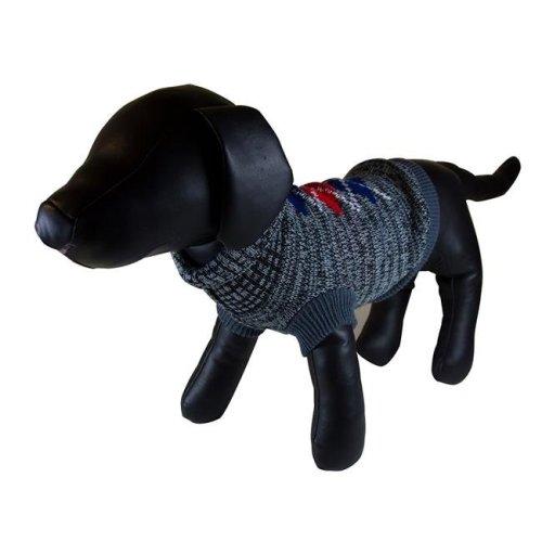 Dark Gray Argyle Turtleneck Dog Sweater - Small
