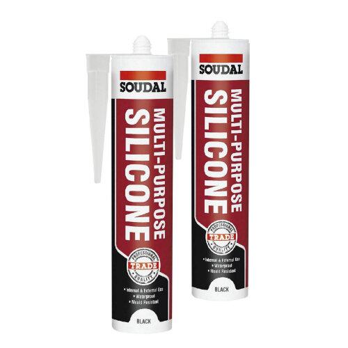 2 x Black Multi Purpose Silicone Sealant Mould Resistant Waterproof