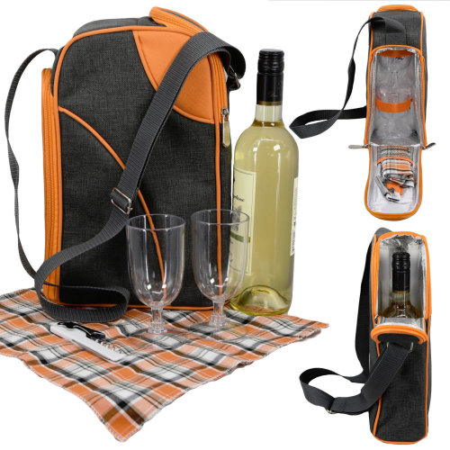 GEEZY 2-Person Insulated Wine Bottle Cooler Bag With Glasses