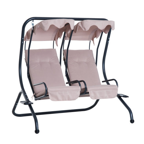 Outsunny 2 Seater Canopy Swing Chair - Beige | 2 Person Swing Seat