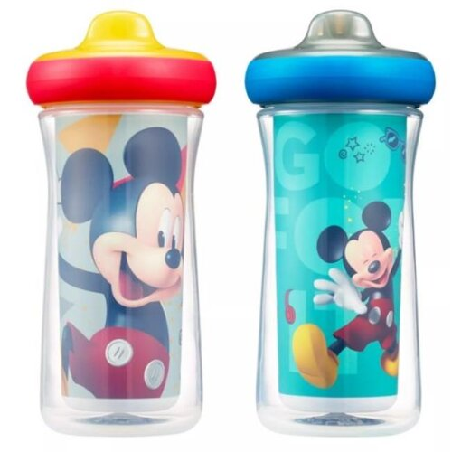 The First Years 55056730 9 oz Disney Mickey Mouse Imagin Action Insulated Hard Spout Sippy Cups Pack of 2