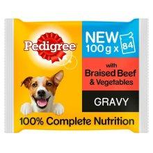 84 x 100g Pedigree Braised Beef & Vegetables in Gravy Wet Dog Food Pouches