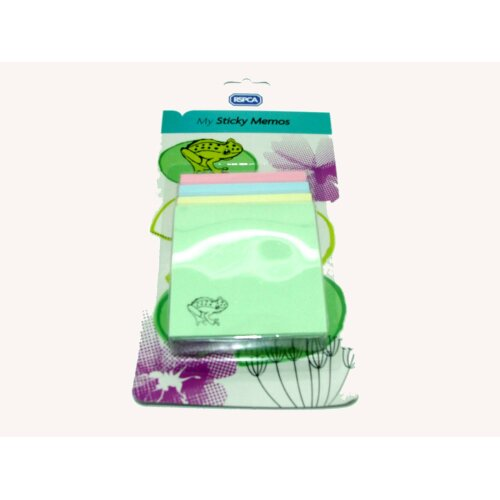 PACK OF POST IT NOTE PADS GREEN PINK YELLOW BLUE (FROG)