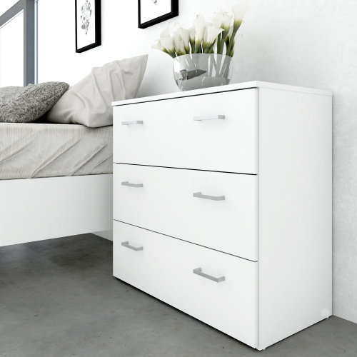 Chest of Drawers 3 Drawer Storage Unit Cabinet Dresser Commode White