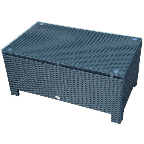 Outsunny Rattan Garden Coffee Table With Glass Top - Black
