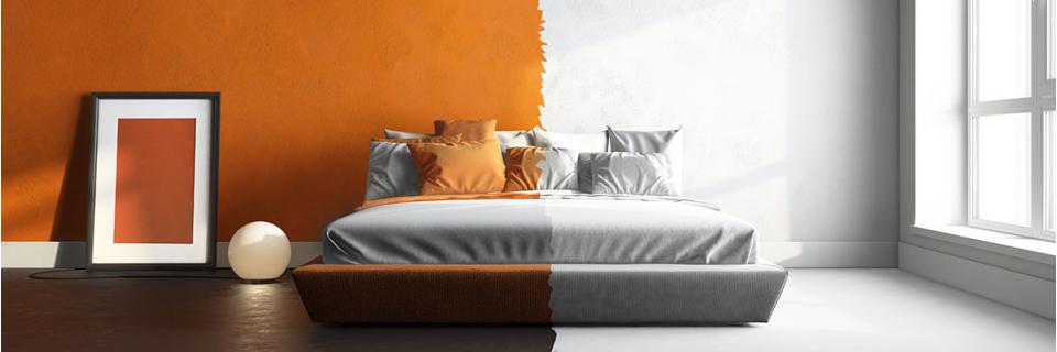split bedroom decor orange