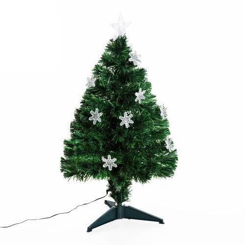 Homcom 3ft Fibre Optic Artificial Christmas Tree With Snowflake Lights