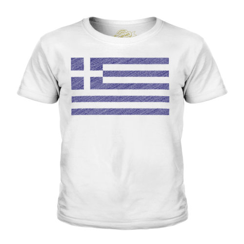 (White, 11-12 Years) Candymix - Greece Scribble Flag - Unisex Kid's T-Shirt
