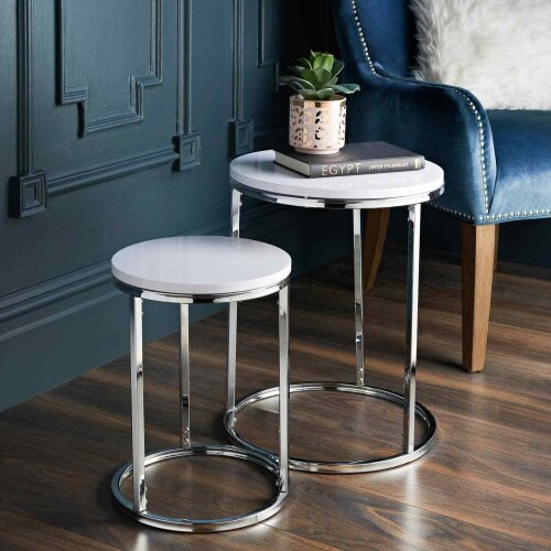 White High Gloss Round Nest of 2 Tables Living Room Furniture Space Saving Table