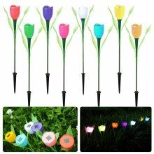 Solar Power Tulip Flower LED Light Outdoor Garden Yard Path Lawn Lamp Decor