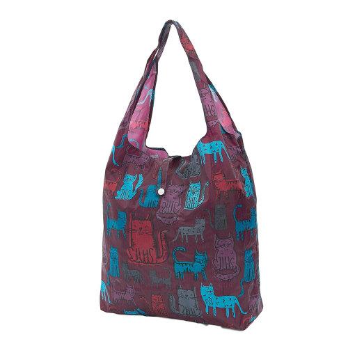 FUNKY CAT print foldaway shopping bag holds 15kg