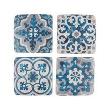 Sass & Belle Blue Mediterranean Mosaic Santorini Coasters - Set of 4
