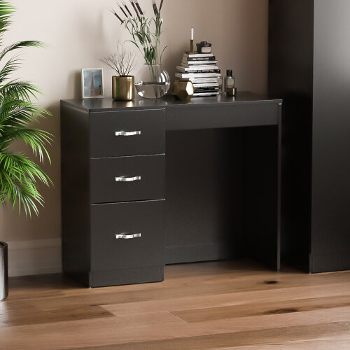 (Black) Riano 3 Drawer Dressing Table Makeup Computer Desk
