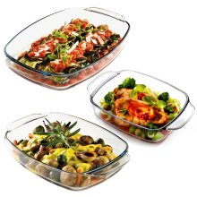 Set Of 3 Glass Serving Oven Roasting Cooking Baking Casserole Tray.