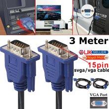 3 METRE VGA/SVGA 15 PIN MALE TO MALE PC MONITOR TV LCD PLASMA LED