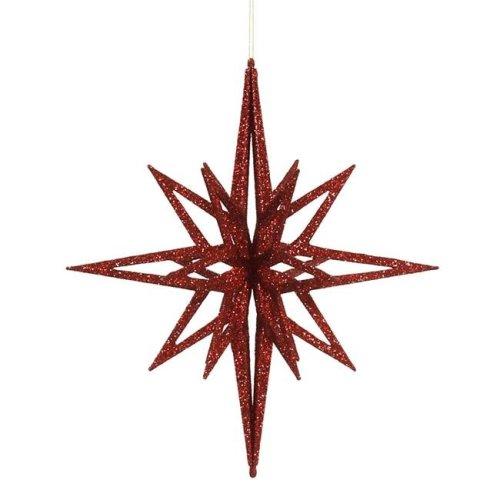 Vickerman M148303 Red 3D Glitter Star Ornament, 16 in.