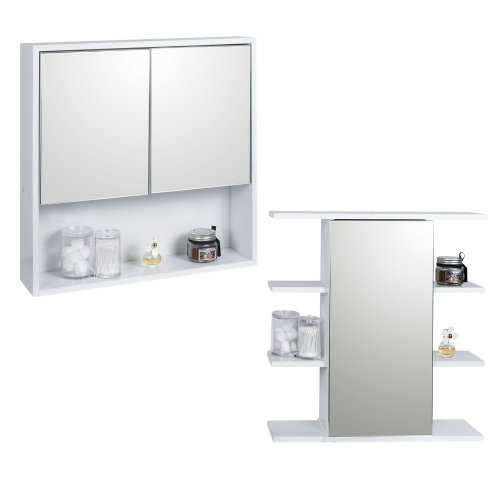 White Wooden Wall Mounted Mirror Bathroom Cabinet