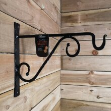 Tom Chambers Heavy Duty Handcrafted Metal 35cm Black Twisted Wall Bracket Hook For Garden Patio Hanging Basket Planter Bird Feeder