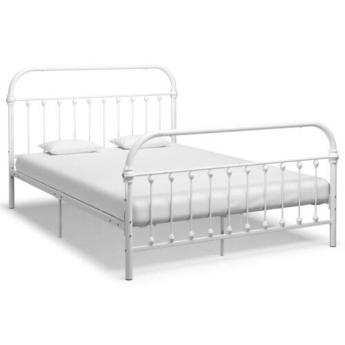 vidaXL Bed Frame Metal White 140x200cm Bedroom Furniture Sleeping Double Bed